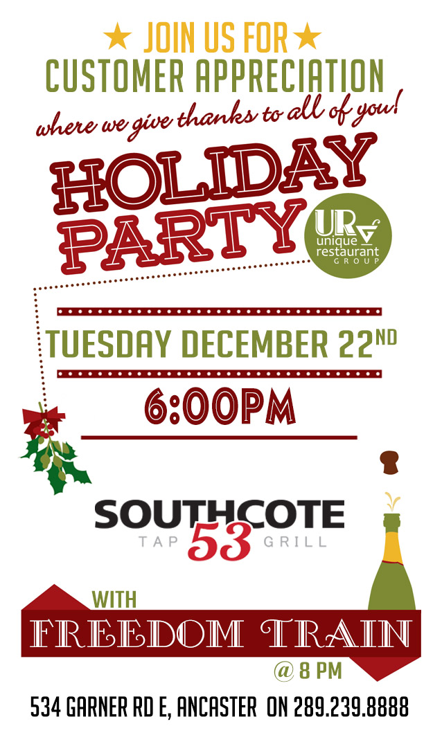 Customer Appreciation Holiday Party at Southcote 53 Tap and Grill with Freedom Train