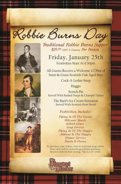 Robbie Burns Day - Friday January 25th, 2019 - Pheasant Plucker