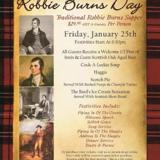 Robbie Burns Day - Friday January 25th, 2019 - The Powerhouse