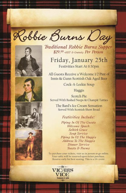 Robbie Burns Day - Friday January 25th, 2019 - Vicars Vice