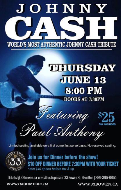 Johnny Cash Tribute - Thursday June 13th, 2019 at 33 Bowen