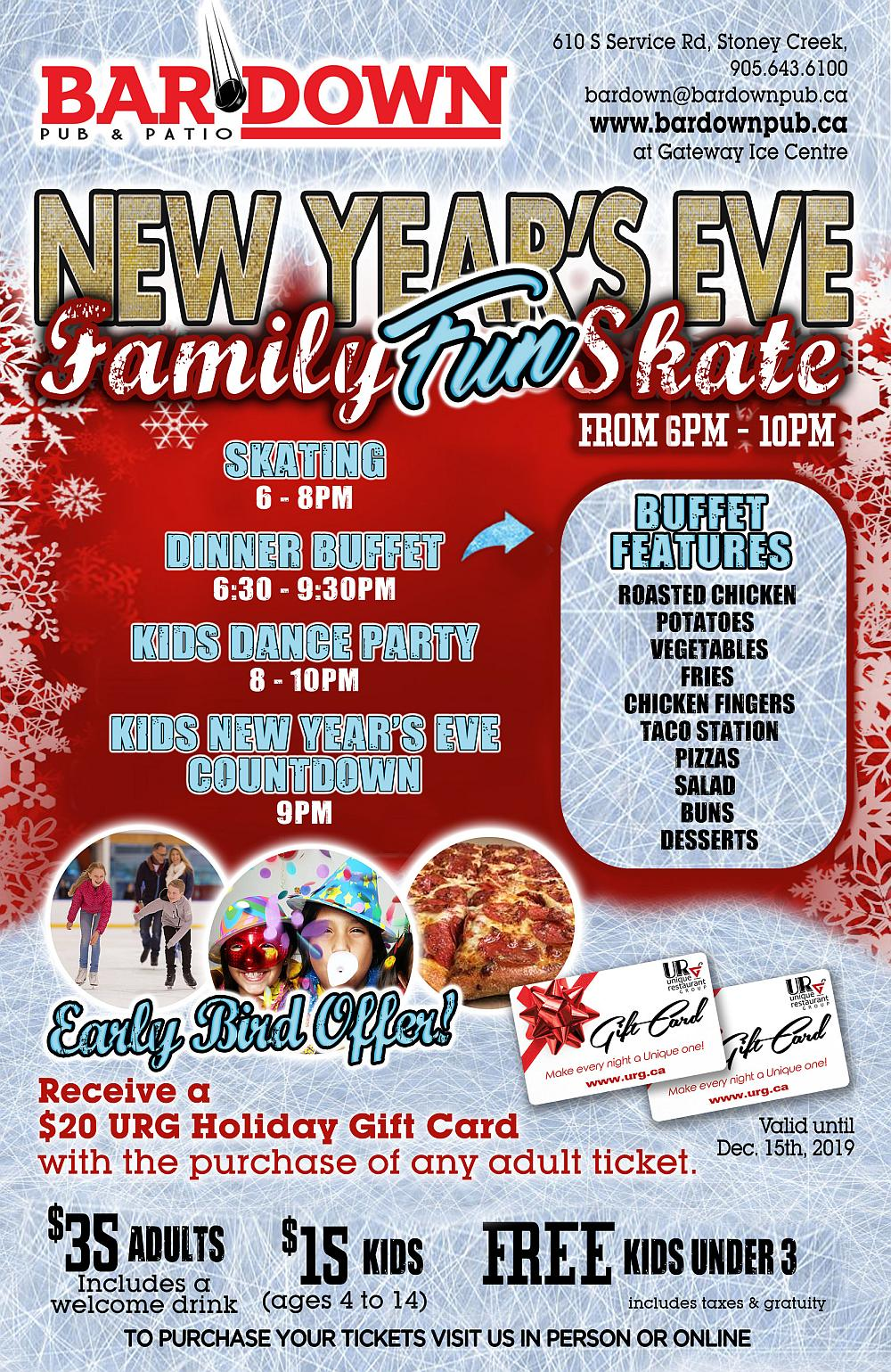 New Years Eve at Bardown Pub - Family Skate, Buffet, Kids Dance Party, Countdown - Tuesday December 31st, 2019