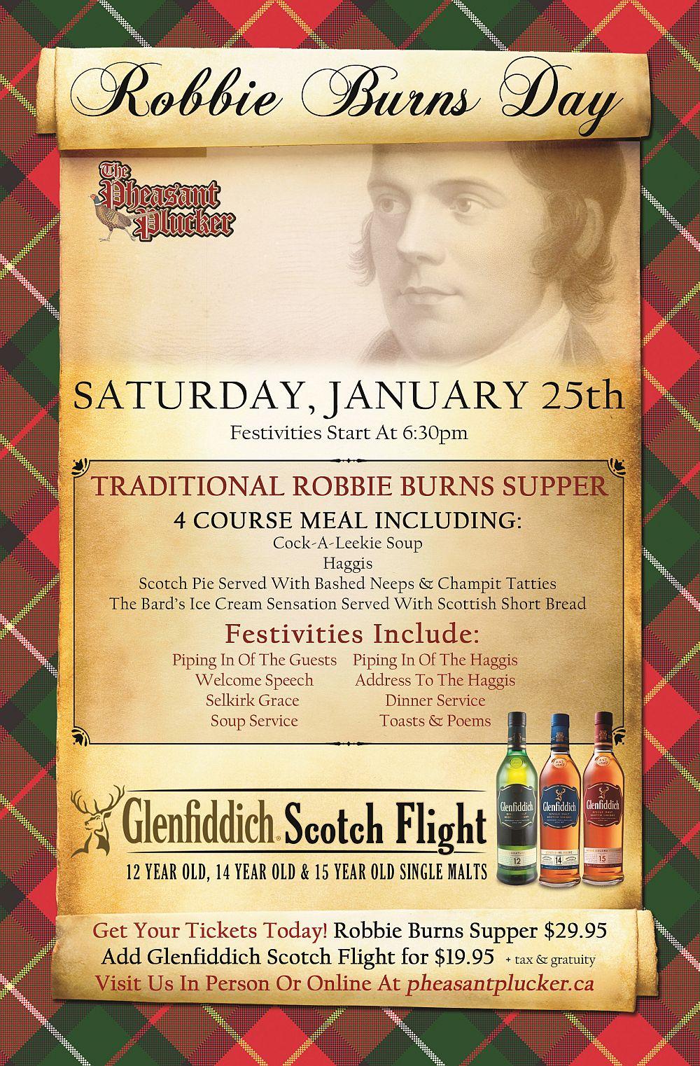 Robbie Burns Day - Saturday January 25th, 2020 - Pheasant Plucker