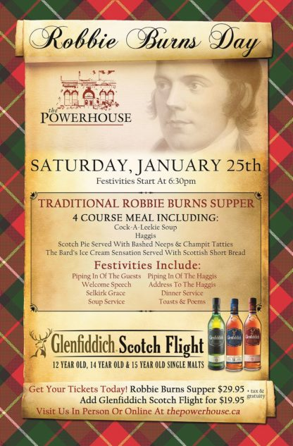 Robbie Burns Day - Saturday January 25th, 2020 - The Powerhouse