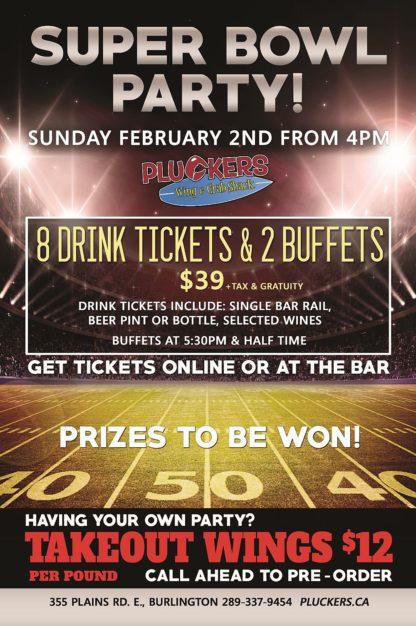 Superbowl - Sunday February 2nd, 2020 - Pluckers